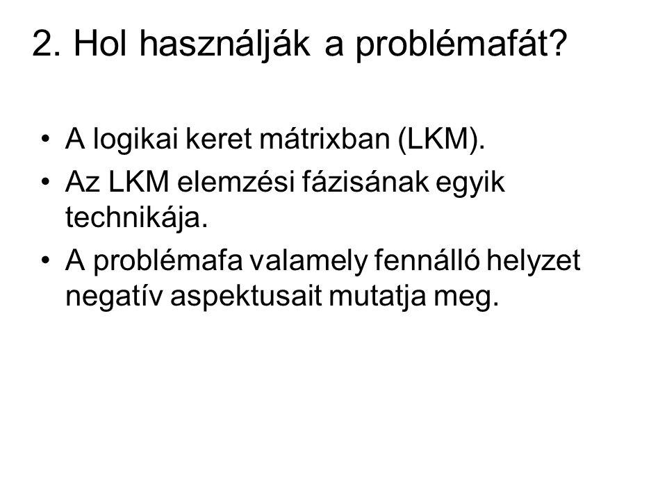 2. Hol használják a problémafát? A logikai keret mátrixban (LKM). Az LKM elemzési fázisának egyik technikája. A problémafa valamely fennálló helyzet n
