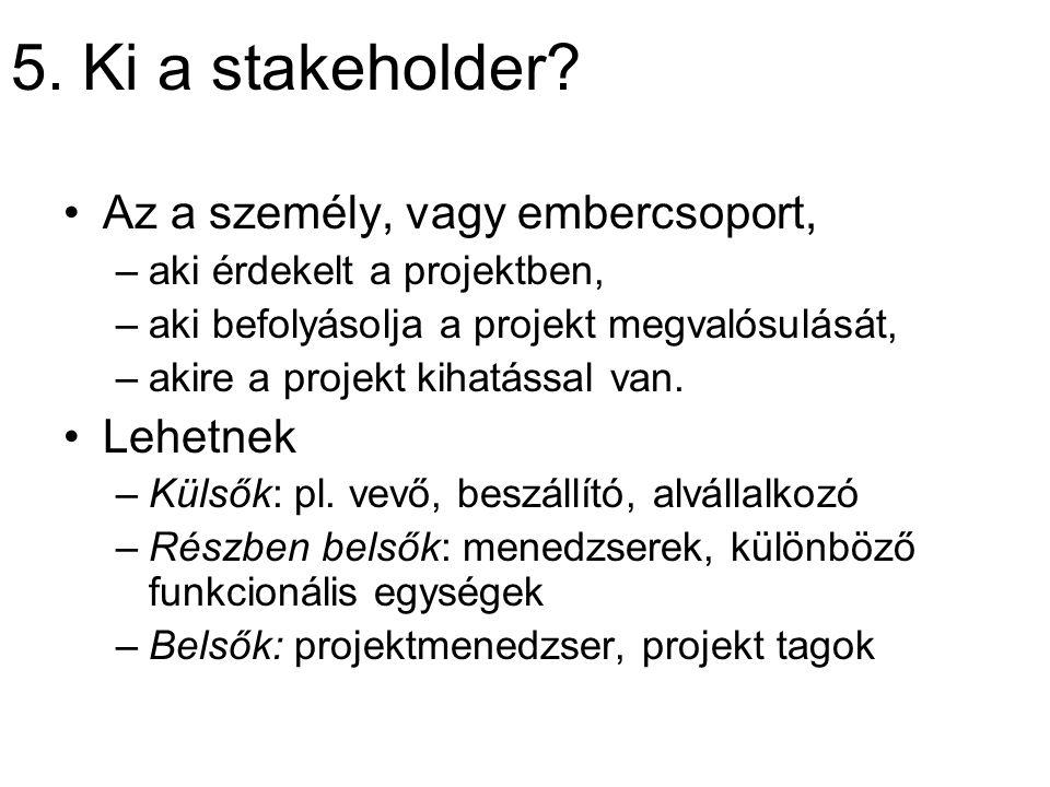 5. Ki a stakeholder? Az a személy, vagy embercsoport, –aki érdekelt a projektben, –aki befolyásolja a projekt megvalósulását, –akire a projekt kihatás
