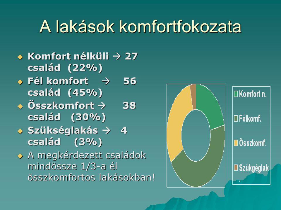 A lakások komfortfokozata  Komfort nélküli  27 család (22%)  Fél komfort  56 család (45%)  Összkomfort  38 család (30%)  Szükséglakás  4 család (3%)  A megkérdezett családok mindössze 1/3-a él összkomfortos lakásokban!