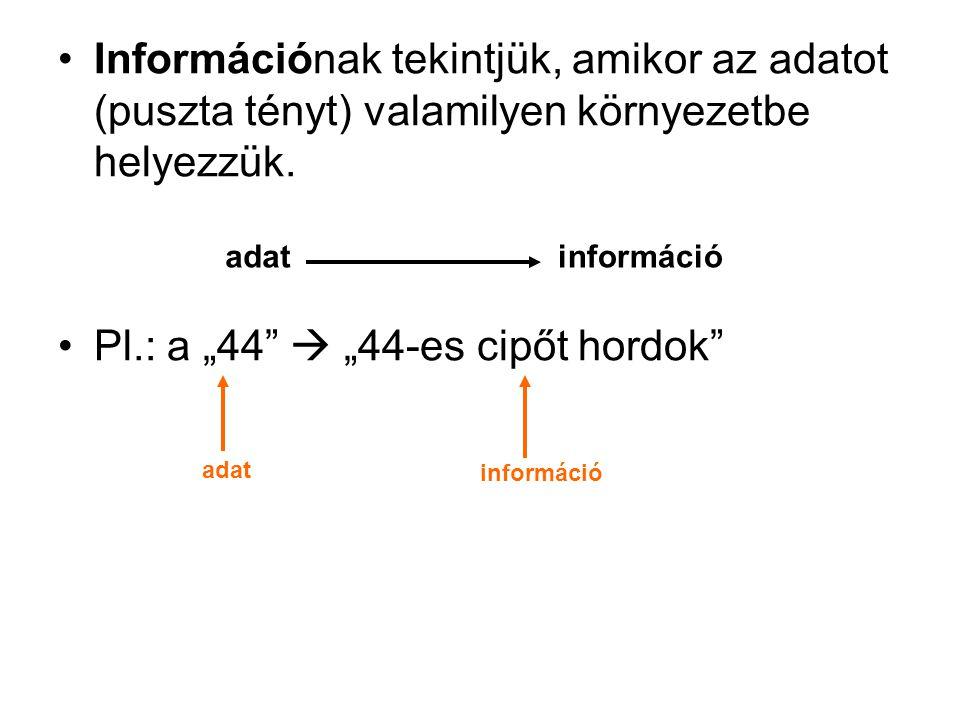"""Információnak tekintjük, amikor az adatot (puszta tényt) valamilyen környezetbe helyezzük. Pl.: a """"44""""  """"44-es cipőt hordok"""" adatinformáció adat info"""