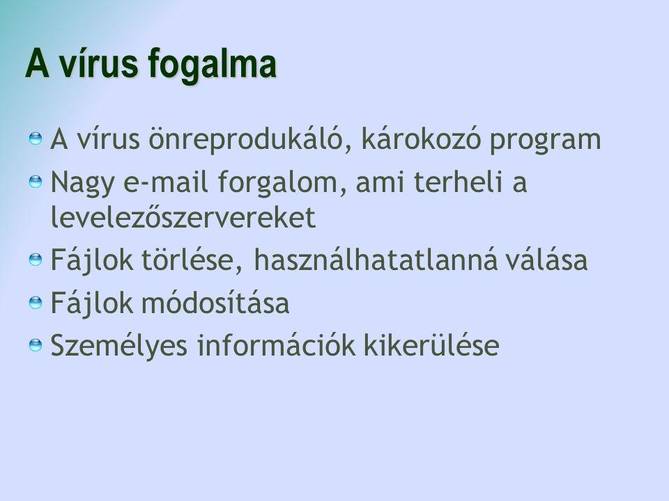 A vírus fogalma A vírus önreprodukáló, károkozó program Nagy e-mail forgalom, ami terheli a levelezőszervereket Fájlok törlése, használhatatlanná válása Fájlok módosítása Személyes információk kikerülése