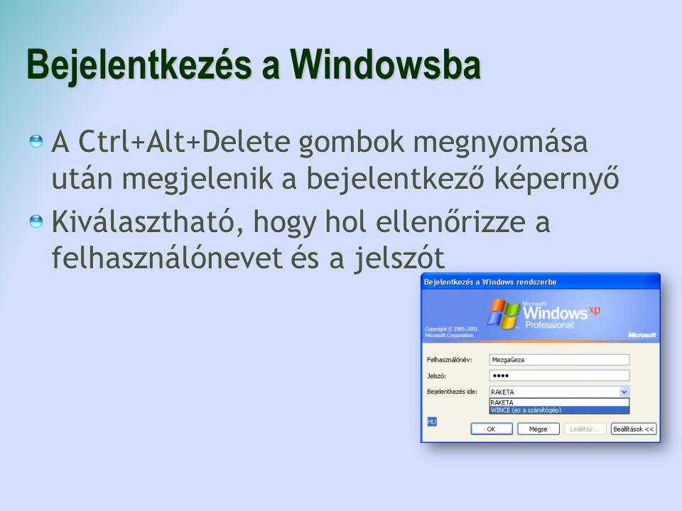 A Ctrl+Alt+Delete gombok megnyomása után megjelenik a bejelentkező képernyő Kiválasztható, hogy hol ellenőrizze a felhasználónevet és a jelszót