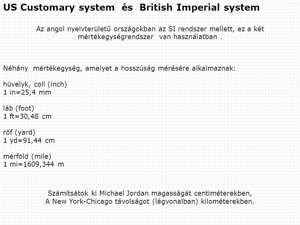 US Customary system és British Imperial system Az angol nyelvterületű országokban az SI rendszer mellett, ez a két mértékegységrendszer van használatb