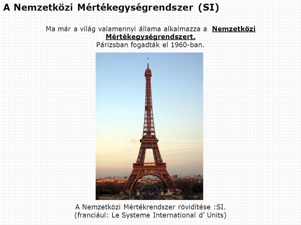 A Nemzetközi Mértékegységrendszer (SI) Ma már a világ valamennyi állama alkalmazza a Nemzetközi Mértékegységrendszert. Párizsban fogadták el 1960-ban.