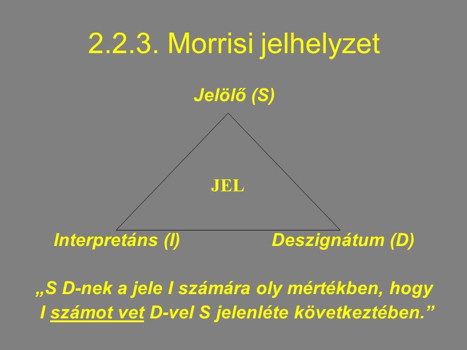 """2.2.3. Morrisi jelhelyzet Jelölő (S) Interpretáns (I) Deszignátum (D) """"S D-nek a jele I számára oly mértékben, hogy I számot vet D-vel S jelenléte köv"""