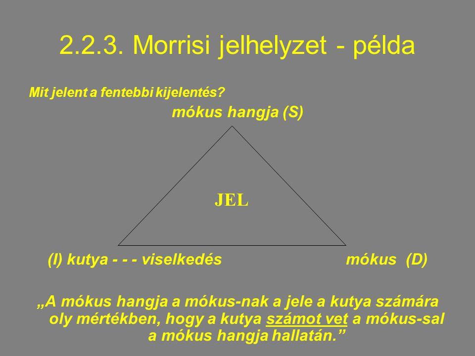 2.2.3.Morrisi jelhelyzet - példa Mit jelent a fentebbi kijelentés.