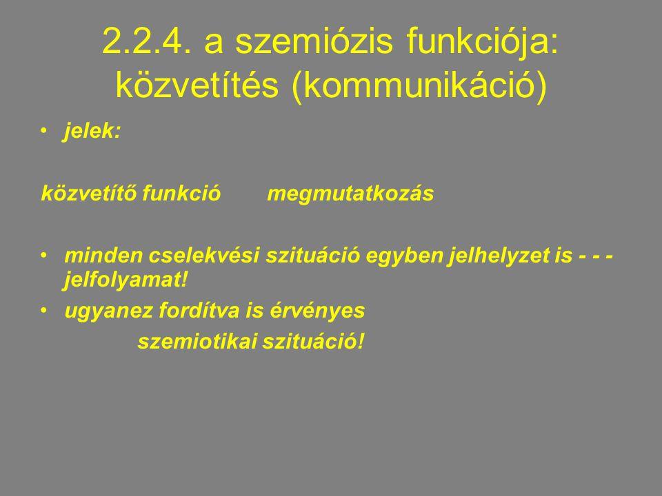 2.2.4. a szemiózis funkciója: közvetítés (kommunikáció) jelek: közvetítő funkciómegmutatkozás minden cselekvési szituáció egyben jelhelyzet is - - - j