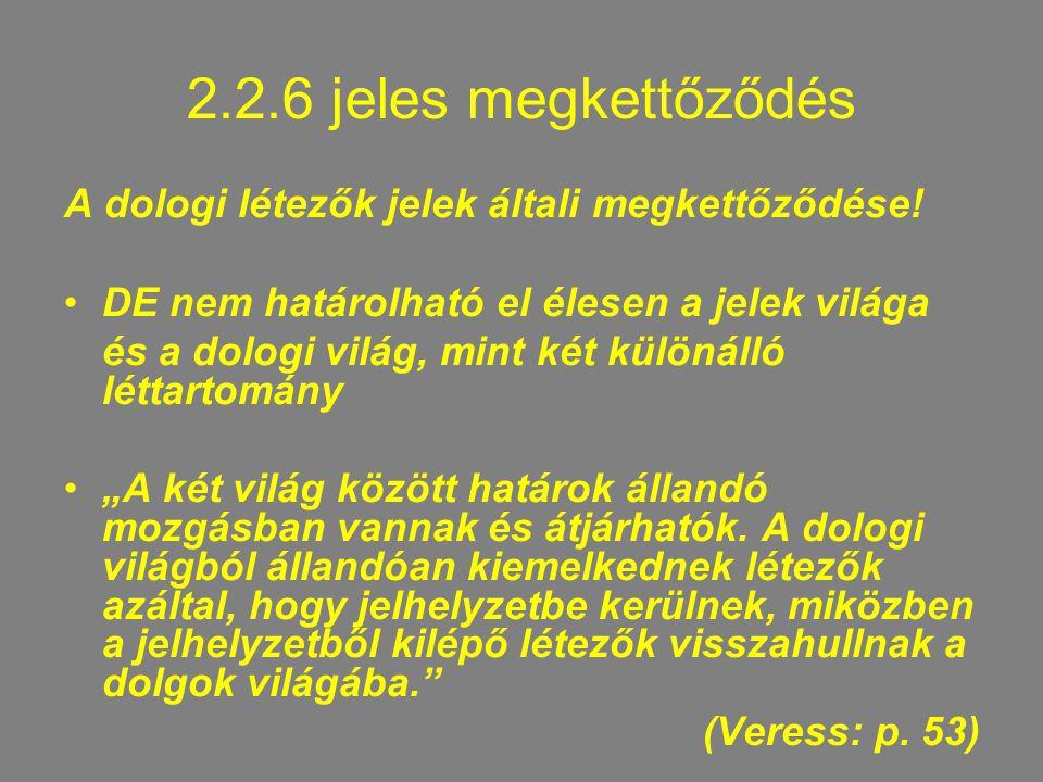 2.2.6 jeles megkettőződés A dologi létezők jelek általi megkettőződése.