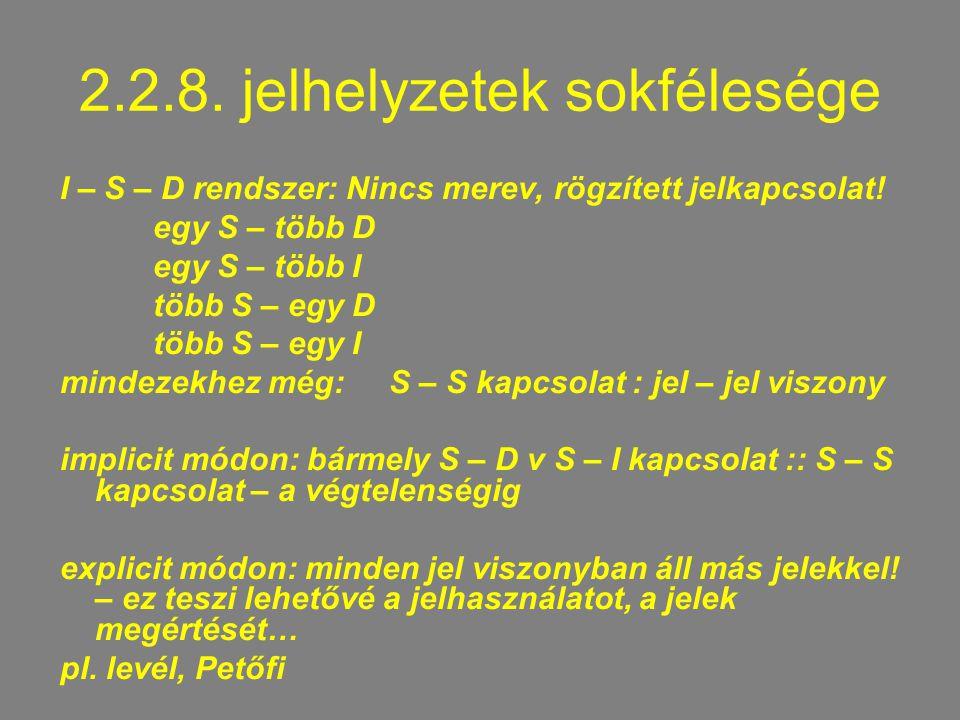 2.2.8.jelhelyzetek sokfélesége I – S – D rendszer: Nincs merev, rögzített jelkapcsolat.