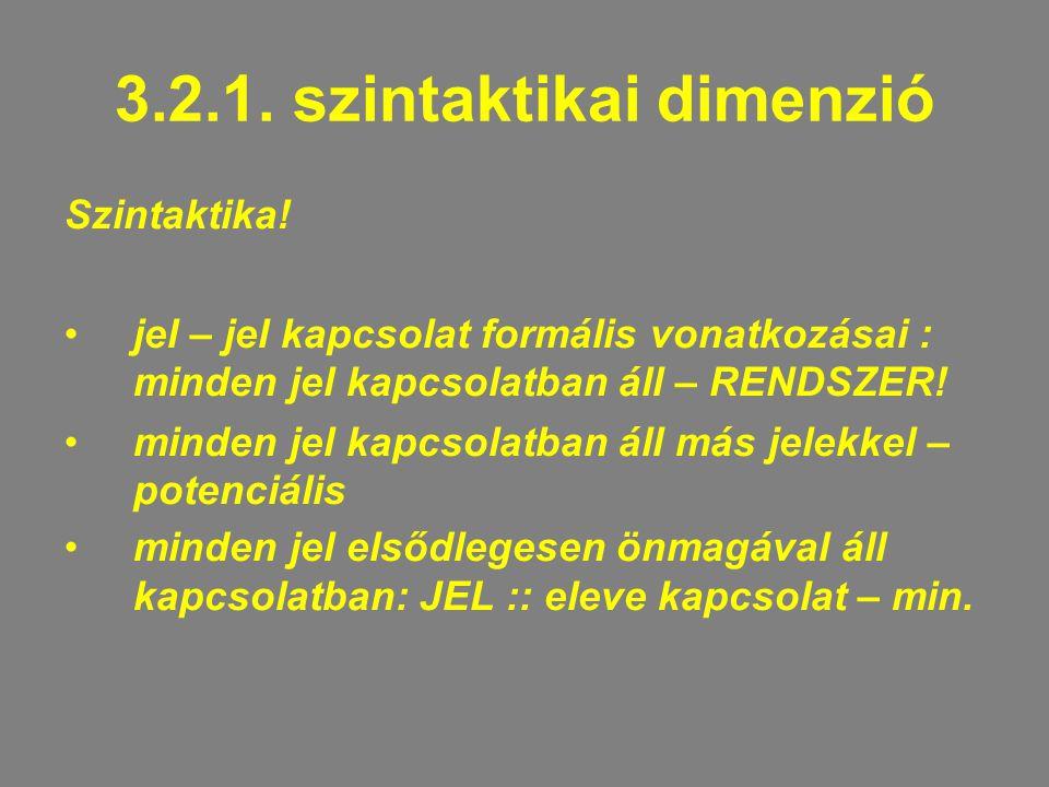 3.2.1.szintaktikai dimenzió Szintaktika.