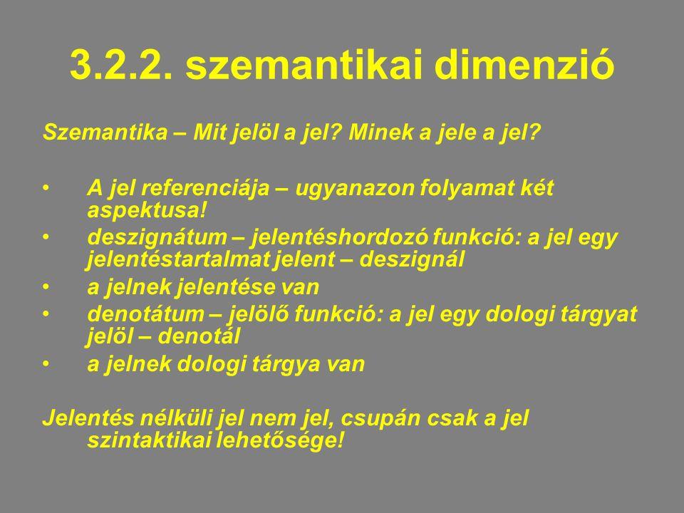 3.2.2. szemantikai dimenzió Szemantika – Mit jelöl a jel? Minek a jele a jel? A jel referenciája – ugyanazon folyamat két aspektusa! deszignátum – jel