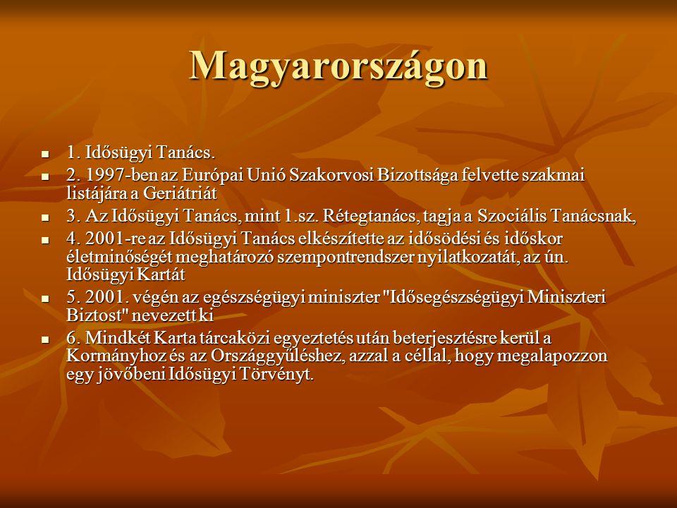 Magyarországon 1. Idősügyi Tanács. 1. Idősügyi Tanács. 2. 1997-ben az Európai Unió Szakorvosi Bizottsága felvette szakmai listájára a Geriátriát 2. 19