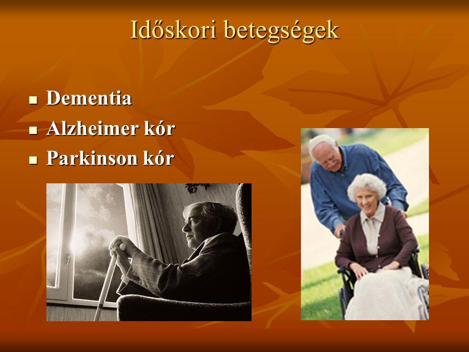 Időskori betegségek Dementia Dementia Alzheimer kór Alzheimer kór Parkinson kór Parkinson kór