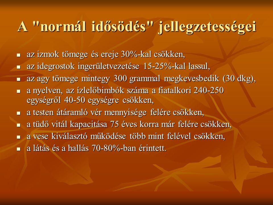 A normál idősödés jellegzetességei az izmok tömege és ereje 30%-kal csökken, az izmok tömege és ereje 30%-kal csökken, az idegrostok ingerületvezetése 15-25%-kal lassul, az idegrostok ingerületvezetése 15-25%-kal lassul, az agy tömege mintegy 300 grammal megkevesbedik (30 dkg), az agy tömege mintegy 300 grammal megkevesbedik (30 dkg), a nyelven, az ízlelőbimbók száma a fiatalkori 240-250 egységről 40-50 egységre csökken, a nyelven, az ízlelőbimbók száma a fiatalkori 240-250 egységről 40-50 egységre csökken, a testen átáramló vér mennyisége felére csökken, a testen átáramló vér mennyisége felére csökken, a tüdő vitál kapacitása 75 éves korra már felére csökken, a tüdő vitál kapacitása 75 éves korra már felére csökken, a vese kiválasztó működése több mint felével csökken, a vese kiválasztó működése több mint felével csökken, a látás és a hallás 70-80%-ban érintett.