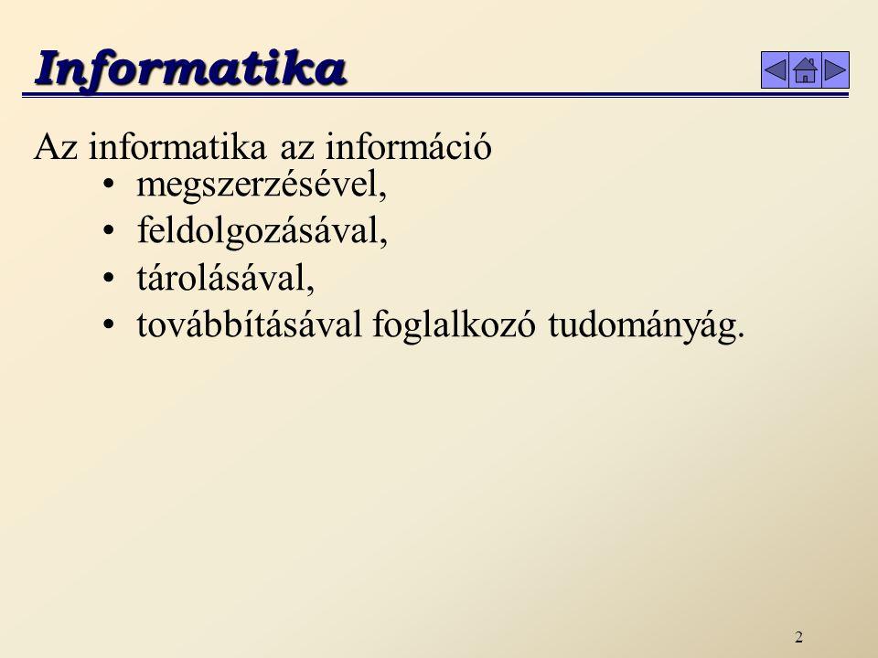 2 Informatika Az informatika az információ megszerzésével, feldolgozásával, tárolásával, továbbításával foglalkozó tudományág.