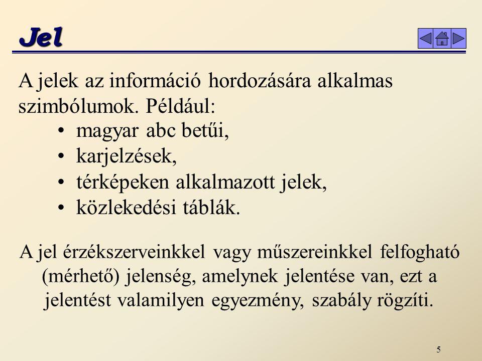 5 Jel A jelek az információ hordozására alkalmas szimbólumok. Például: magyar abc betűi, karjelzések, térképeken alkalmazott jelek, közlekedési táblák