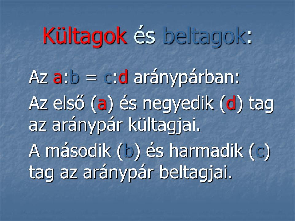 Kültagok és beltagok: Az a:b = c:d aránypárban: Az első (a) és negyedik (d) tag az aránypár kültagjai.