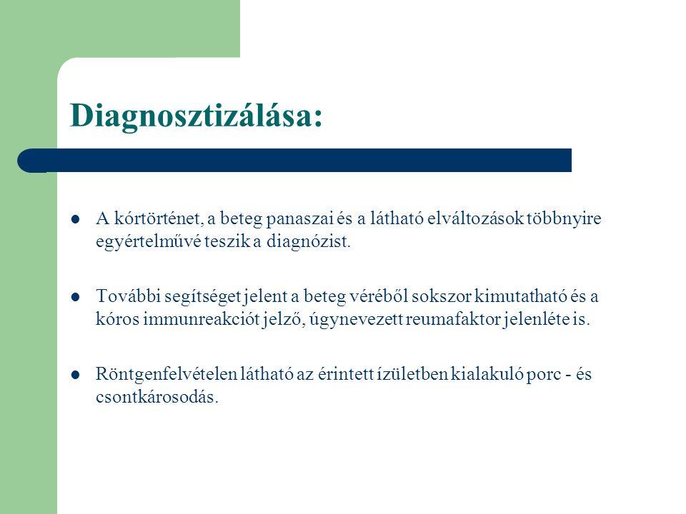 Diagnosztizálása: A kórtörténet, a beteg panaszai és a látható elváltozások többnyire egyértelművé teszik a diagnózist. További segítséget jelent a be