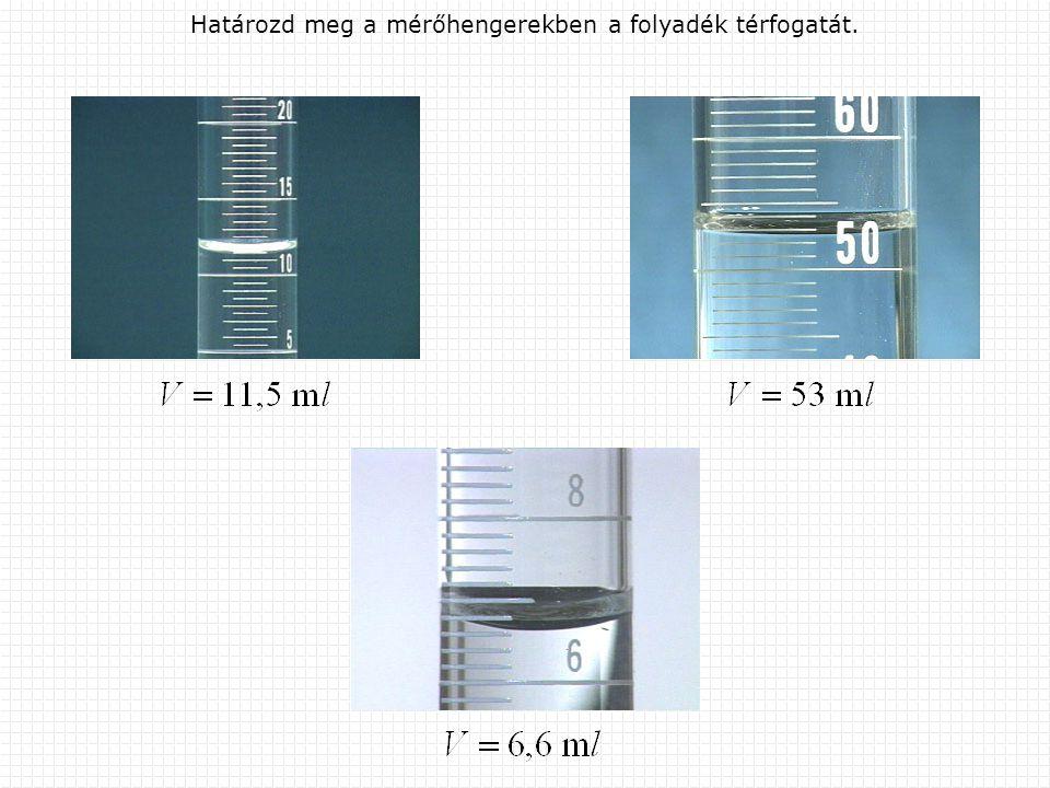 Határozd meg a mérőhengerekben a folyadék térfogatát.