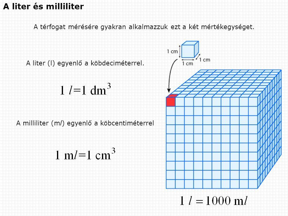 A liter és milliliter A térfogat mérésére gyakran alkalmazzuk ezt a két mértékegységet. A liter (l) egyenlő a köbdeciméterrel. A milliliter (ml) egyen