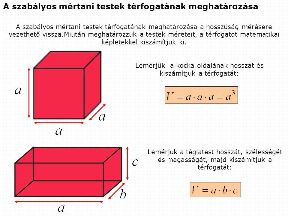 A szabályos mértani testek térfogatának meghatározása A szabályos mértani testek térfogatának meghatározása a hosszúság mérésére vezethető vissza.Miut