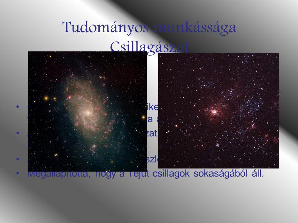 Tudományos munkássága Csillagászat Ő volt az első emberek egyike aki az égbolt tanulmányozására használta a távcsövet.