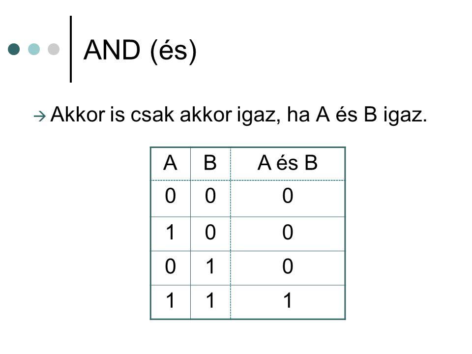 OR (vagy)  Akkor igaz, ha A vagy B igaz. ABA vagy B 000 101 011 111