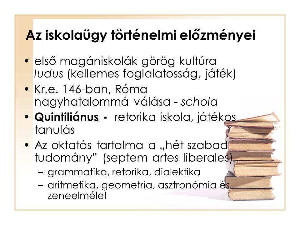 Az iskolaügy történelmi előzményei első magániskolák görög kultúra ludus (kellemes foglalatosság, játék) Kr.e. 146-ban, Róma nagyhatalommá válása - sc