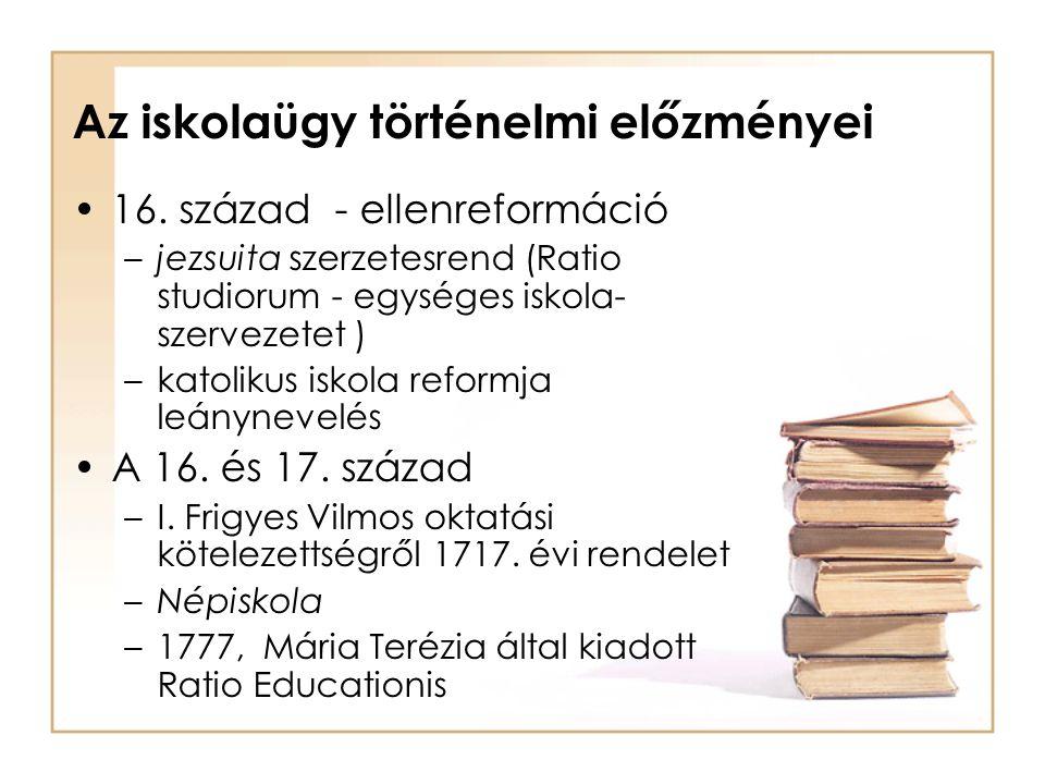 Az iskolaügy történelmi előzményei 16. század - ellenreformáció –jezsuita szerzetesrend (Ratio studiorum - egységes iskola szervezetet ) –katolikus i