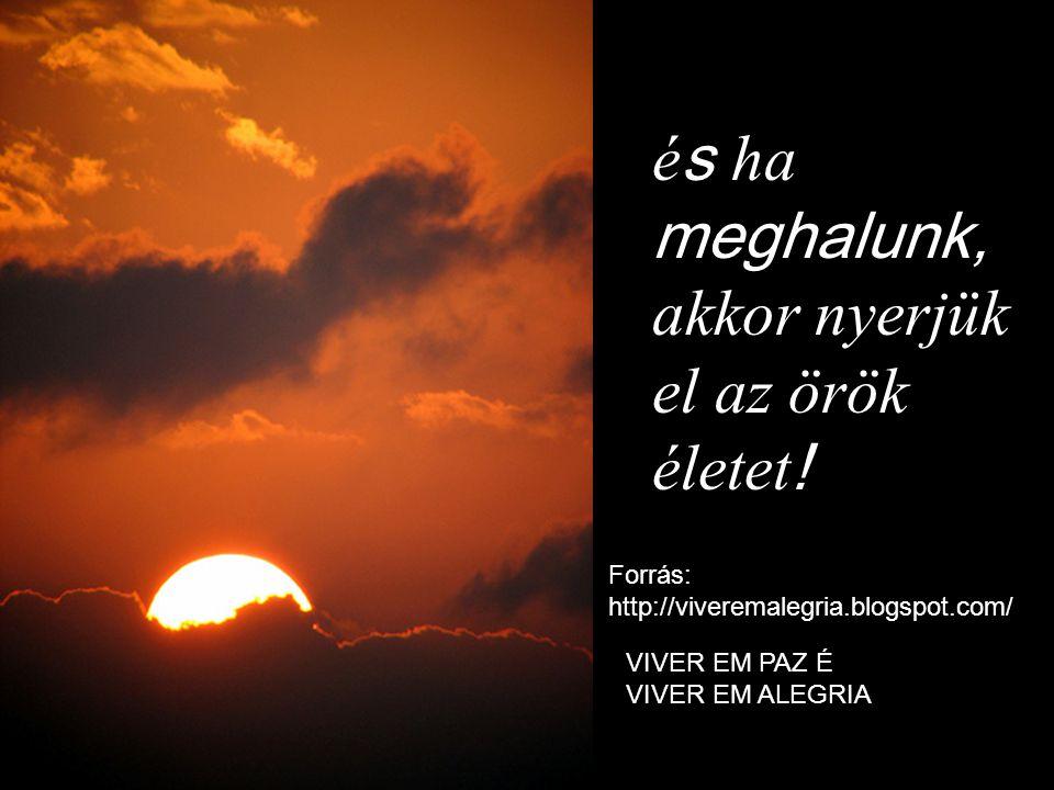 é s ha meghalunk, akkor nyerjük el az örök életet ! Forrás: http://viveremalegria.blogspot.com/ VIVER EM PAZ É VIVER EM ALEGRIA