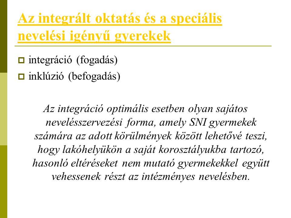 Az integrált oktatás és a speciális nevelési igényű gyerekek  integráció (fogadás)  inklúzió (befogadás) Az integráció optimális esetben olyan saját