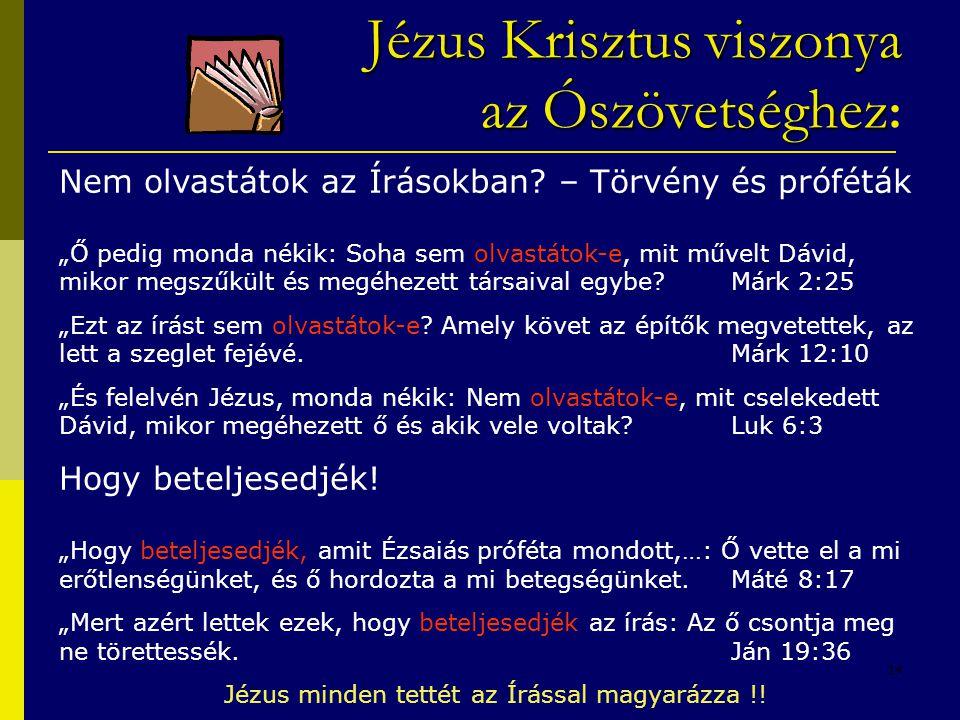 """14 Jézus Krisztus viszonya azÓszövetséghez Jézus Krisztus viszonya az Ószövetséghez : Nem olvastátok az Írásokban? – Törvény és próféták """"Ő pedig mond"""
