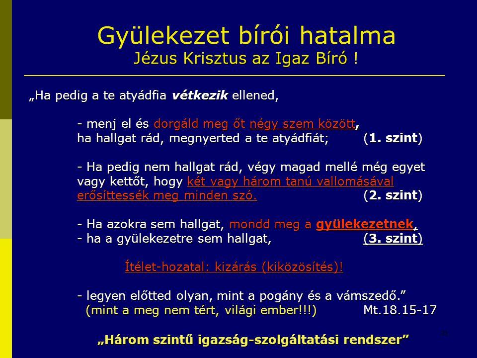 """31 Jézus Krisztus az Igaz Bíró Gyülekezet bírói hatalma Jézus Krisztus az Igaz Bíró ! """"Ha pedig a te atyádfia vétkezik ellened, - menj el és dorgáld m"""