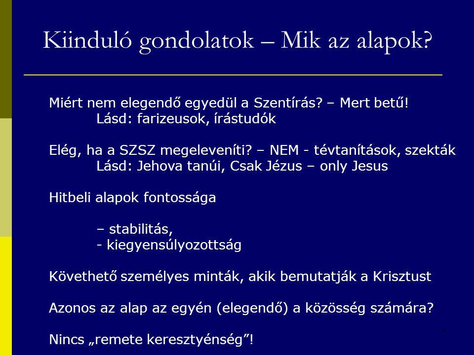 4 Kiinduló gondolatok – Mik az alapok? Miért nem elegendő egyedül a Szentírás? – Mert betű! Lásd: farizeusok, írástudók Elég, ha a SZSZ megeleveníti?