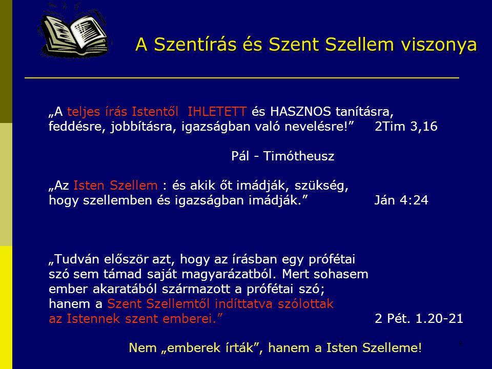 """9 """"A teljes írás Istentől IHLETETT és HASZNOS tanításra, feddésre, jobbításra, igazságban való nevelésre!"""" 2Tim 3,16 Pál - Timótheusz """"Az Isten Szelle"""