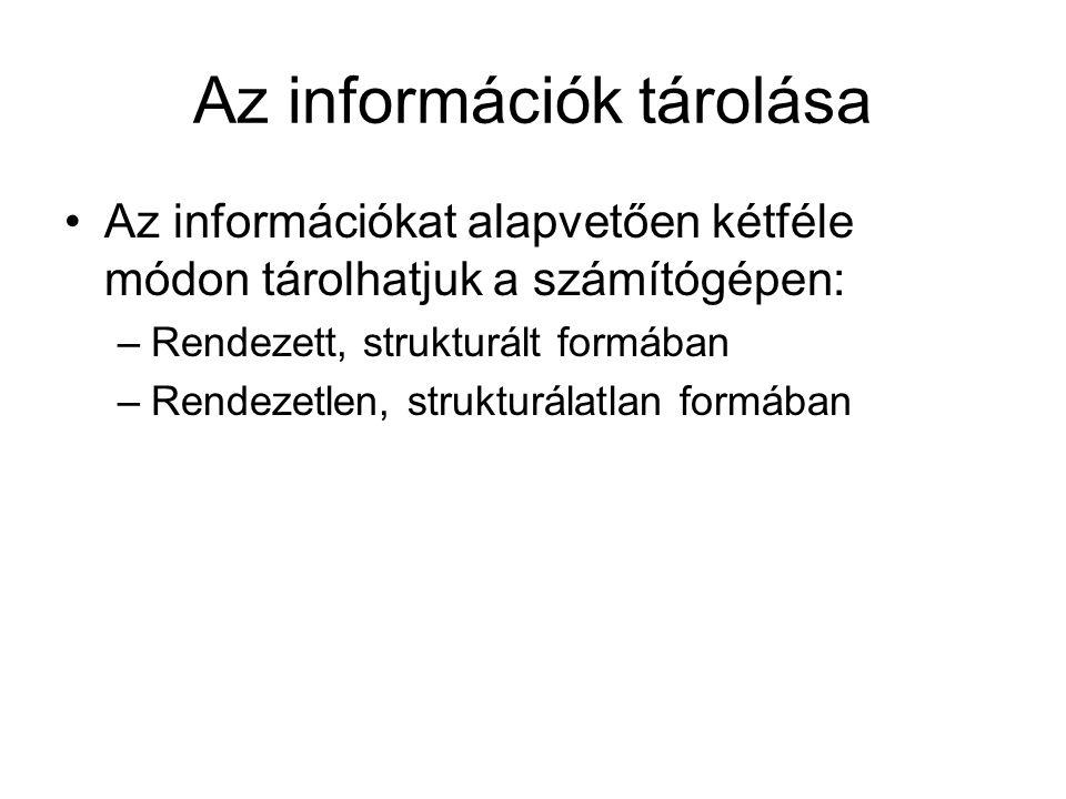 Az információk tárolása Az információkat alapvetően kétféle módon tárolhatjuk a számítógépen: –Rendezett, strukturált formában –Rendezetlen, strukturálatlan formában