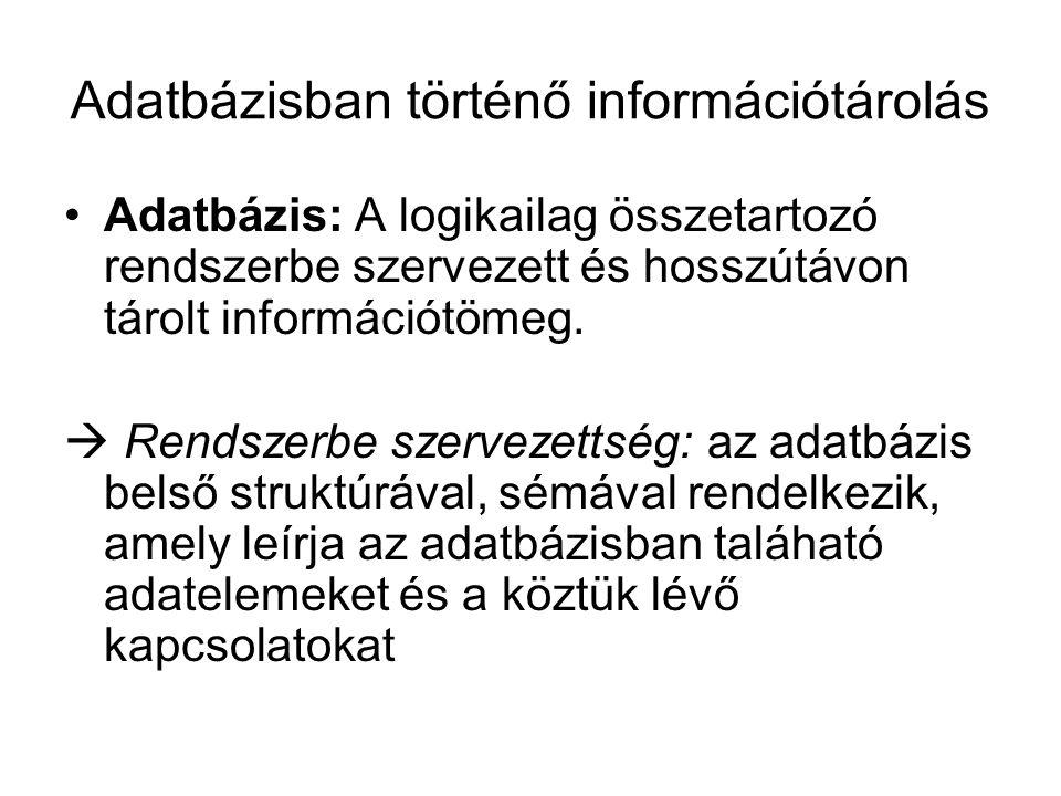 Adatbázisban történő információtárolás Adatbázis: A logikailag összetartozó rendszerbe szervezett és hosszútávon tárolt információtömeg.  Rendszerbe