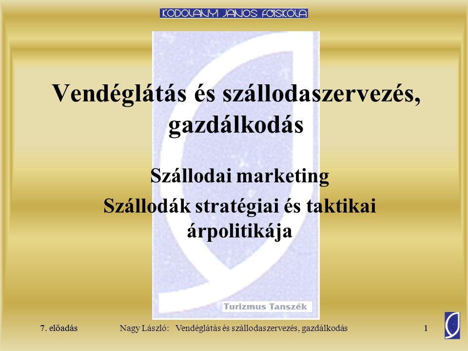 7. előadás1Nagy László: Vendéglátás és szállodaszervezés, gazdálkodás7. előadás1 Vendéglátás és szállodaszervezés, gazdálkodás Szállodai marketing Szá