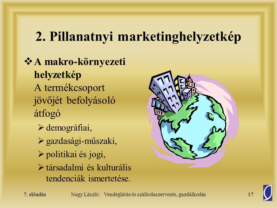 7. előadás17Nagy László: Vendéglátás és szállodaszervezés, gazdálkodás7. előadás17 2. Pillanatnyi marketinghelyzetkép  A makro-környezeti helyzetkép