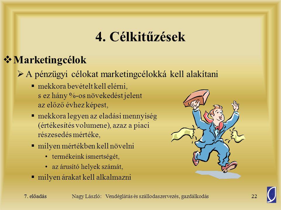 7. előadás22Nagy László: Vendéglátás és szállodaszervezés, gazdálkodás7. előadás22  Marketingcélok  A pénzügyi célokat marketingcélokká kell alakíta