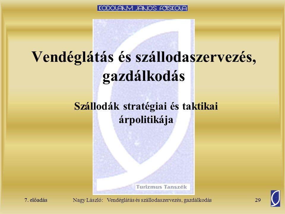 7. előadás29Nagy László: Vendéglátás és szállodaszervezés, gazdálkodás7. előadás29 Vendéglátás és szállodaszervezés, gazdálkodás Szállodák stratégiai