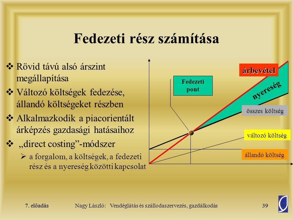 7. előadás39Nagy László: Vendéglátás és szállodaszervezés, gazdálkodás7. előadás39 Fedezeti rész számítása  Rövid távú alsó árszint megállapítása  V
