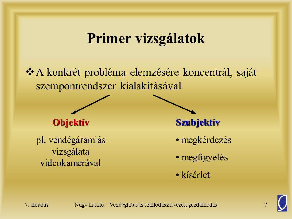 7. előadás7Nagy László: Vendéglátás és szállodaszervezés, gazdálkodás7. előadás7 Primer vizsgálatok  A konkrét probléma elemzésére koncentrál, saját