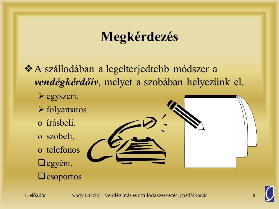 7.előadás49Nagy László: Vendéglátás és szállodaszervezés, gazdálkodás7.