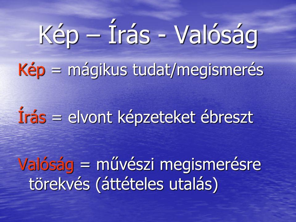 Kép – Írás - Valóság Kép = mágikus tudat/megismerés Írás = elvont képzeteket ébreszt Valóság = művészi megismerésre törekvés (áttételes utalás)
