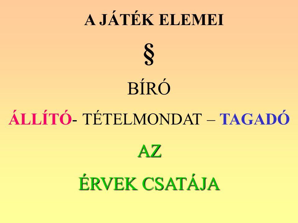 A JÁTÉK ELEMEI § BÍRÓ ÁLLÍTÓ- TÉTELMONDAT – TAGADÓAZ ÉRVEK CSATÁJA