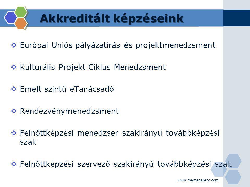 Akkreditált képzéseink  Európai Uniós pályázatírás és projektmenedzsment  Kulturális Projekt Ciklus Menedzsment  Emelt szintű eTanácsadó  Rendezvé