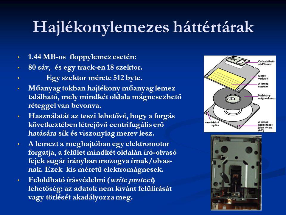 Hajlékonylemezes háttértárak 1.44 MB-os floppylemez esetén: 80 sáv, és egy track-en 18 szektor. Egy szektor mérete 512 byte. Műanyag tokban hajlékony