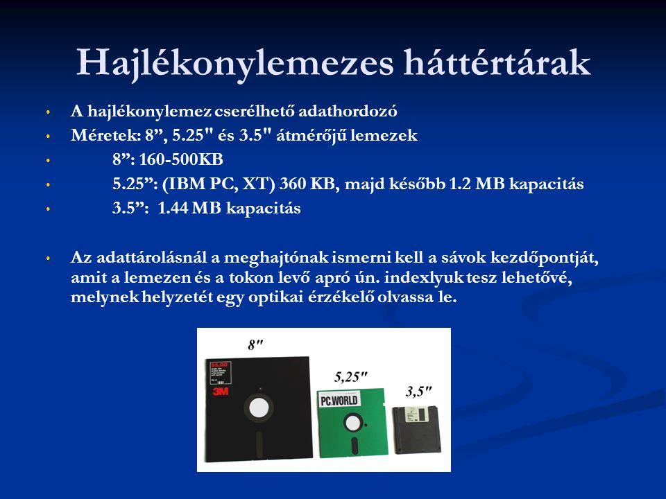 """Hajlékonylemezes háttértárak A hajlékonylemez cserélhető adathordozó Méretek: 8"""", 5.25"""