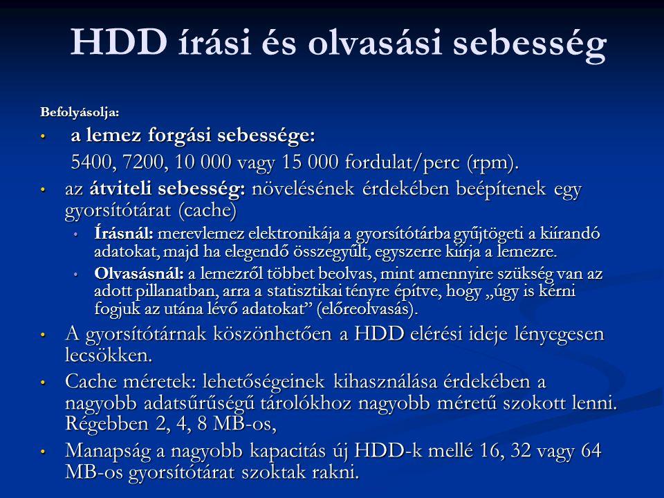 HDD írási és olvasási sebességBefolyásolja: a lemez forgási sebessége: a lemez forgási sebessége: 5400, 7200, 10 000 vagy 15 000 fordulat/perc (rpm).